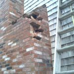 Broken brick chimney